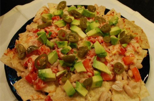 Super easy nachos with avocados