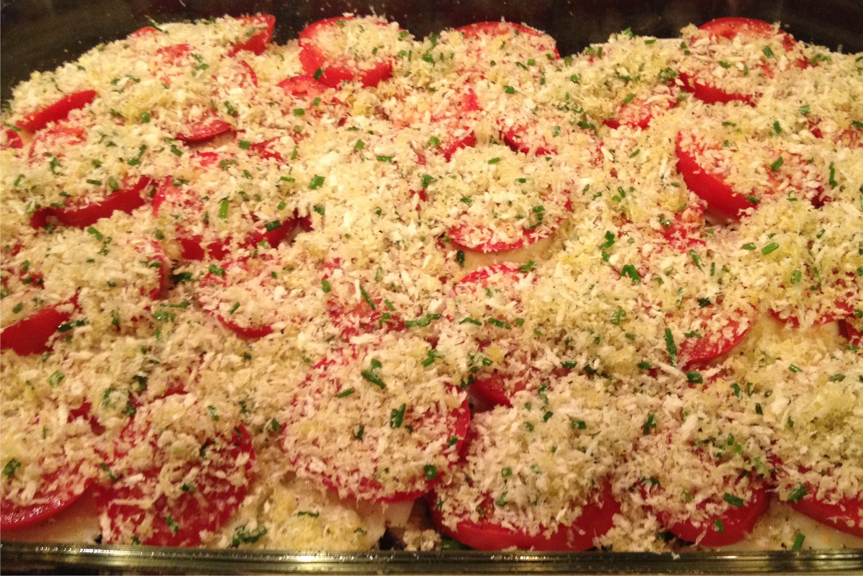 Eggplant tomato layered yum  ready for oven