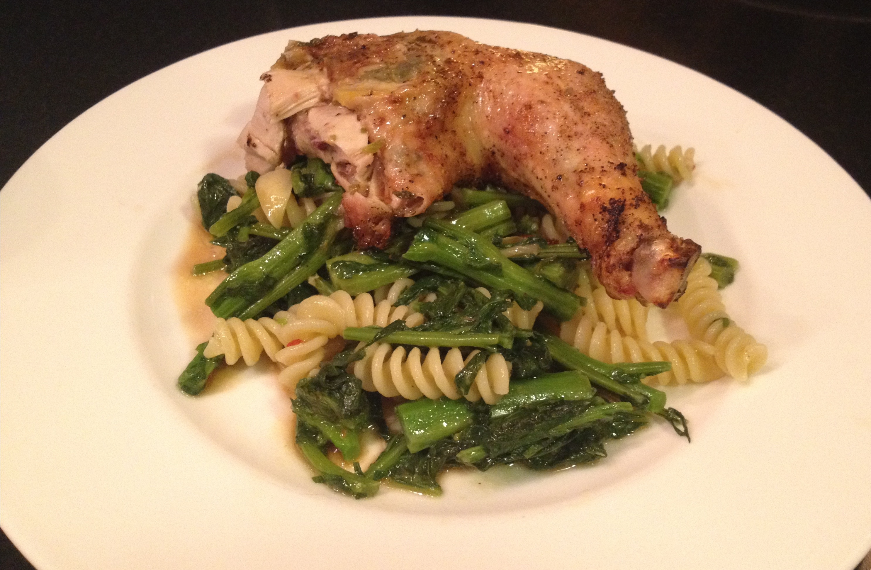 oregano lemon chicken on pasta w broccolli rabe