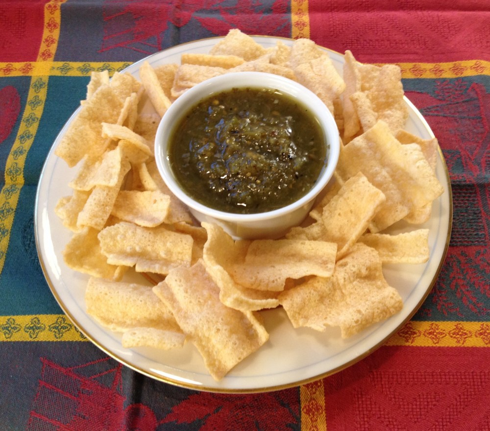 Zukali cilantro pineapple salsa with simply7 quinoa chips.