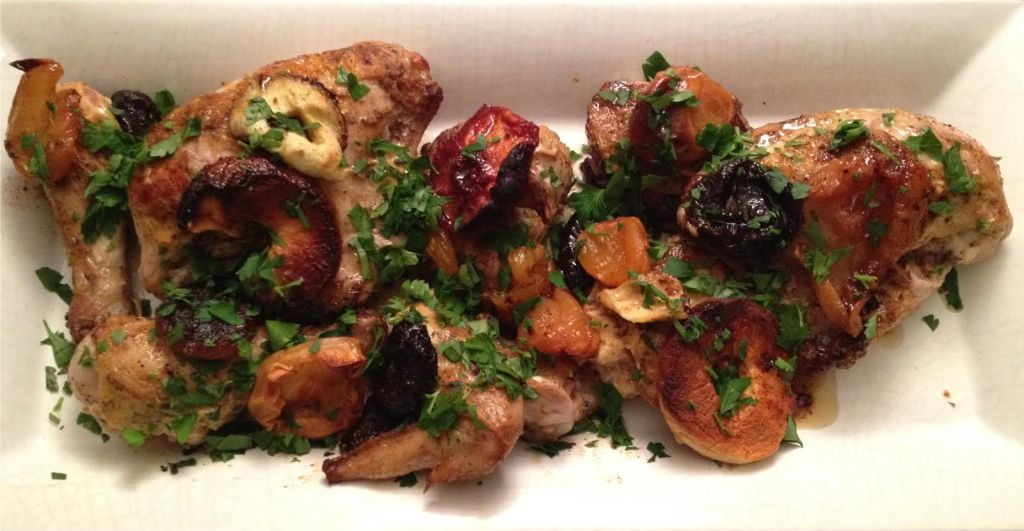 Cumin and mustard roasted chicken with fruit.