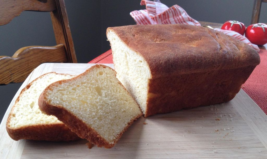 Homemade bread cut with two slices.