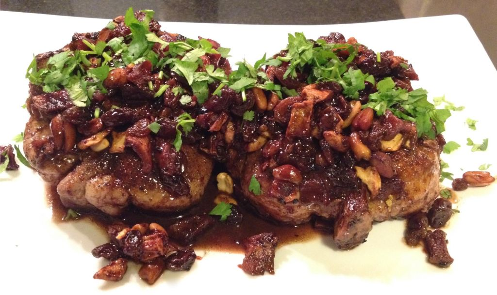 Chili Chocolate Pork Chops with Apple Aplenty - chops on a platter.