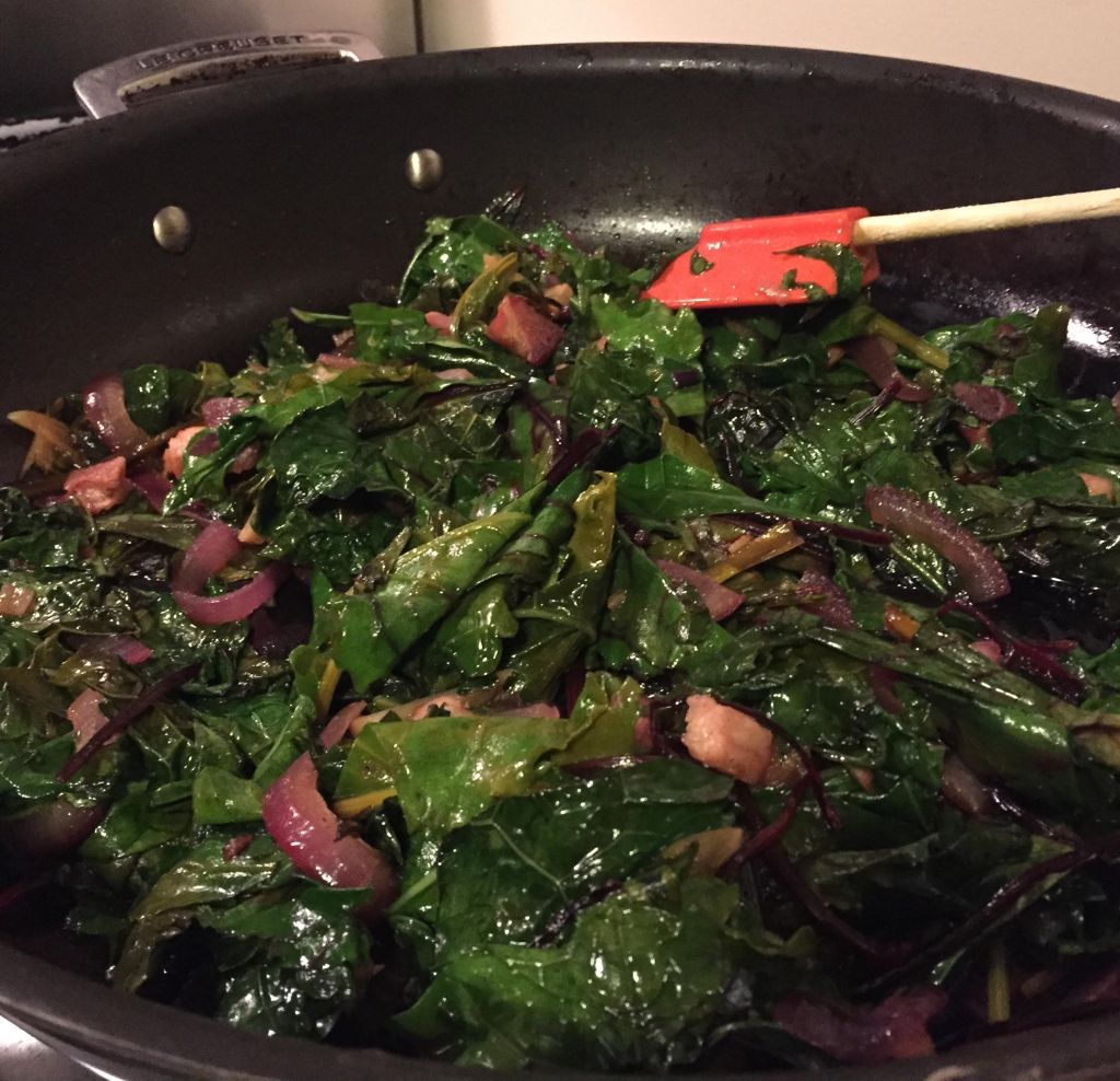 Maguey Sweet Sap with sauteed kale & beet greens finished in skillet.