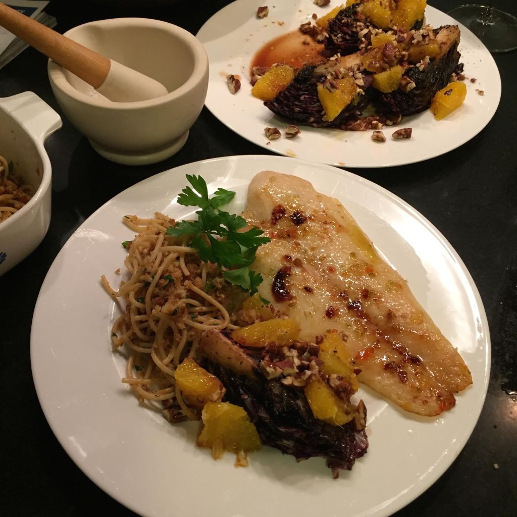 Jenkins Jellies Hell Fire pepper jelly on basa fish with seared radicchio, oranges, pecans and aged balsamic vinegar.
