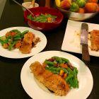 Jenkins Jellies Guava Brava salmon meal on 2 plates.