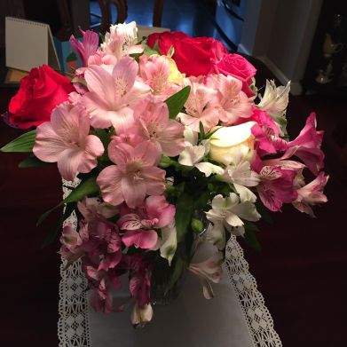 Beautiful colorful bouquet of fresh flowers.