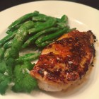 Sauteed chicken with sugar snap peas.