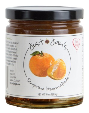 Just Jan's Tangerine Marmalade in a jar.