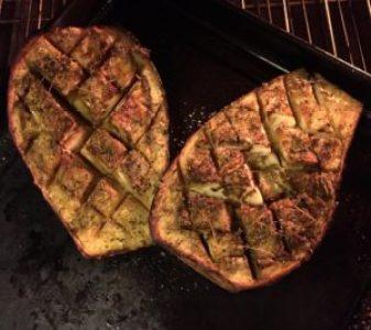 Oregano roasted eggplant halves.