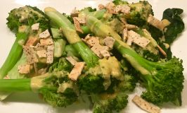 Steamed Broccoli with a Dijon Butter Sauce & Carrie Mae's Kitchen Chia Seeds Crunchy Strips