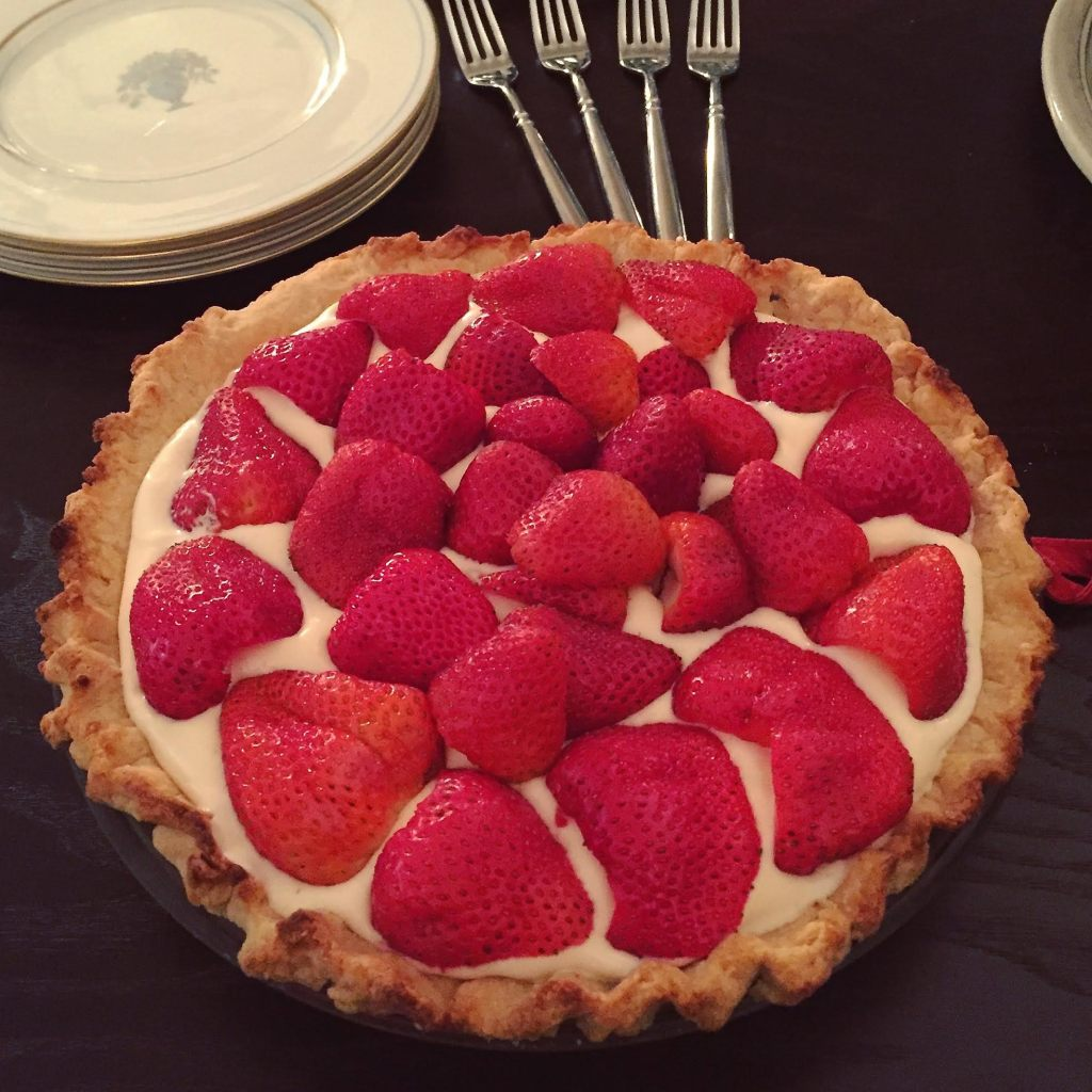 English Provender Luxury Lemon Curd Chiffon pie - finished pie with strawberries on top.
