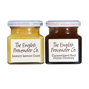 English Provender Luxury Lemon Curd and Caramelized Red Onion Chutney.