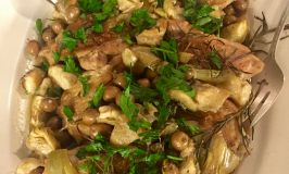 Braised Chicken Thighs with Marinated Artichokes