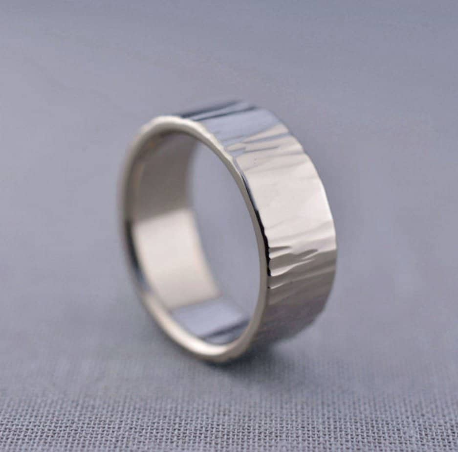 tungsten hammered wedding band Black with Rose Gold Tungsten Mens Wedding BandTungsten Wedding BandTungsten Wedding RingTungsten Unisex Band Anniversary Ring