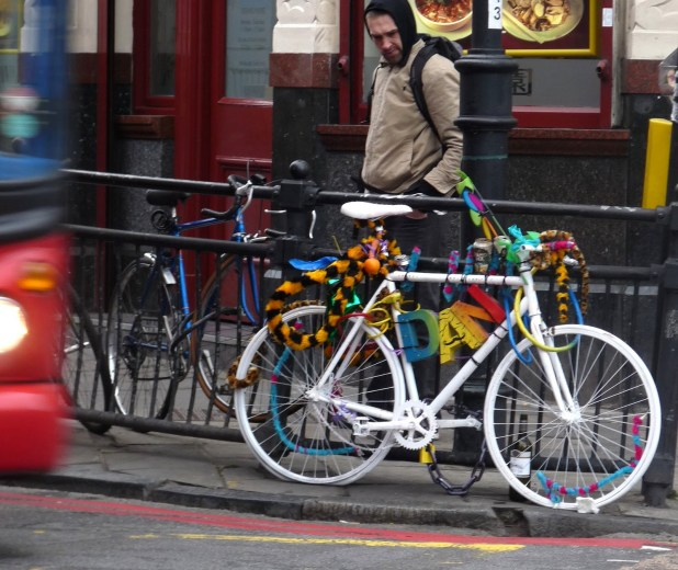 Another white bike for the borough: at Dalston Junction