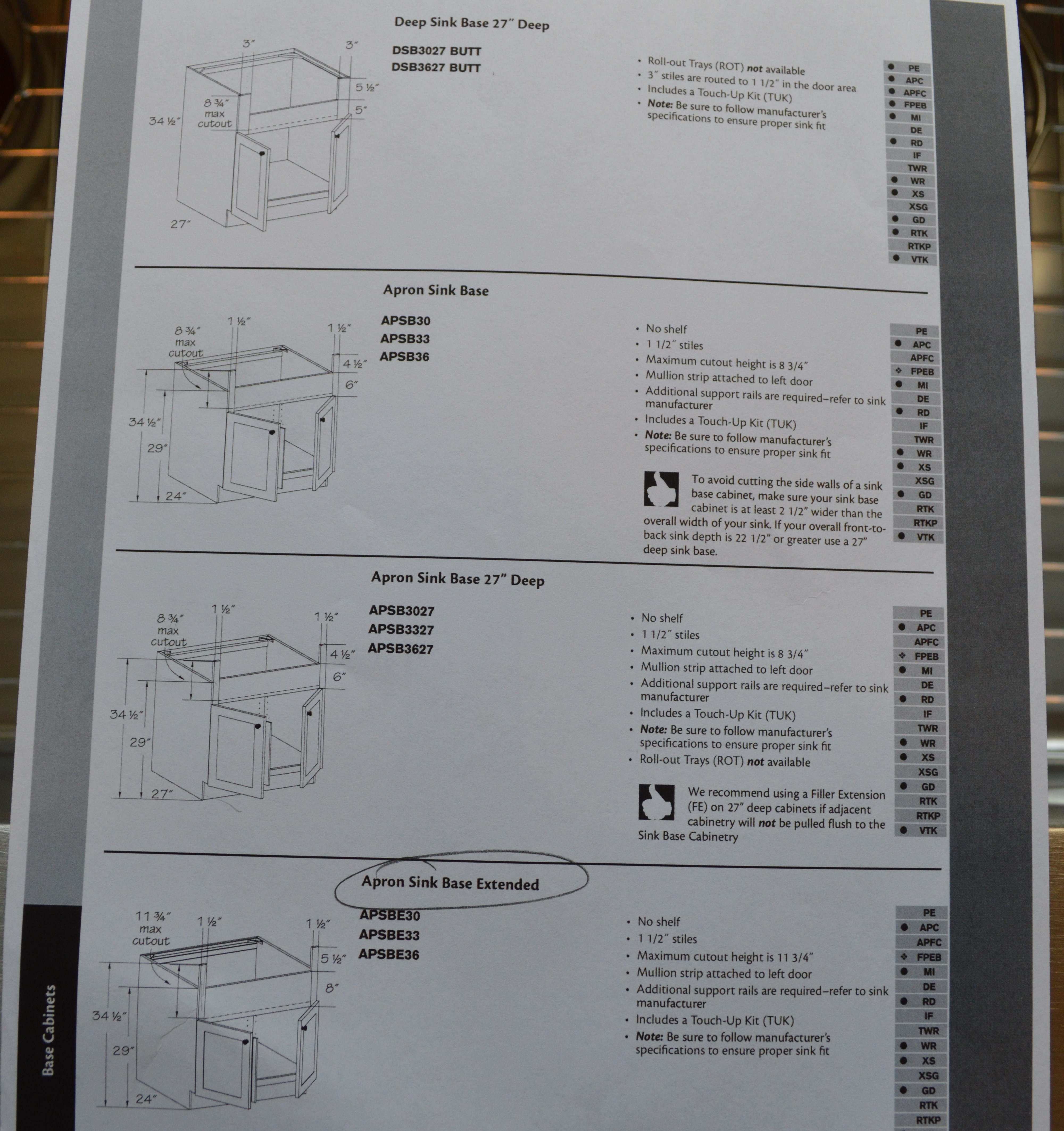 Apron Sink Sizes : ... is the one we went with. You can see it fits a range of sink sizes