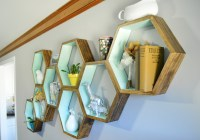 DIY Honeycomb Shelves Living Room Decor