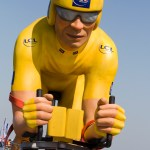 The publicity caravan began with a giant yellow jersey wearer