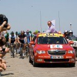 The nuetralised riders arrive but are soon to be stopped with Cancellara at the front
