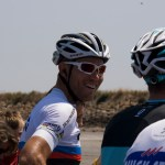 Thor hushovd and Jens Voigt joke around