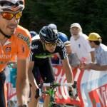 Team Sky's Xabier Zandio pushed hard right to the finish