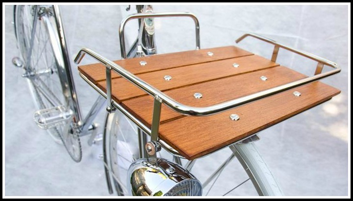Stainless steel wood bicycle basket