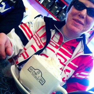 Winter riding = lots of coffee.  Photo © Russ Campbell
