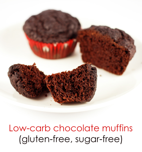 Low-carb, sugar-free double chocolate muffins