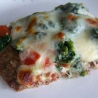 Spinach Tomato Meatza Pizza
