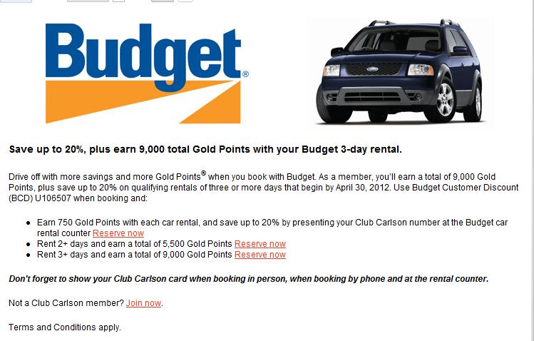 club carlson 9 000 points for budget or avis car rental loyalty traveler. Black Bedroom Furniture Sets. Home Design Ideas