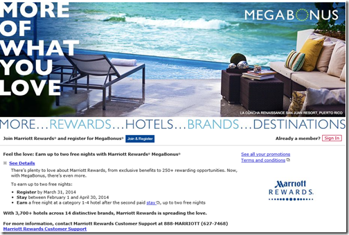 Marriott MegaBonus 2014