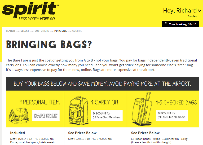 What is Spirit Airlines' (NK) baggage policy? The Spirit Airlines (NK) baggage policy for regular basic fares include the following: Carry-on baggage - Subject to applicable fees.