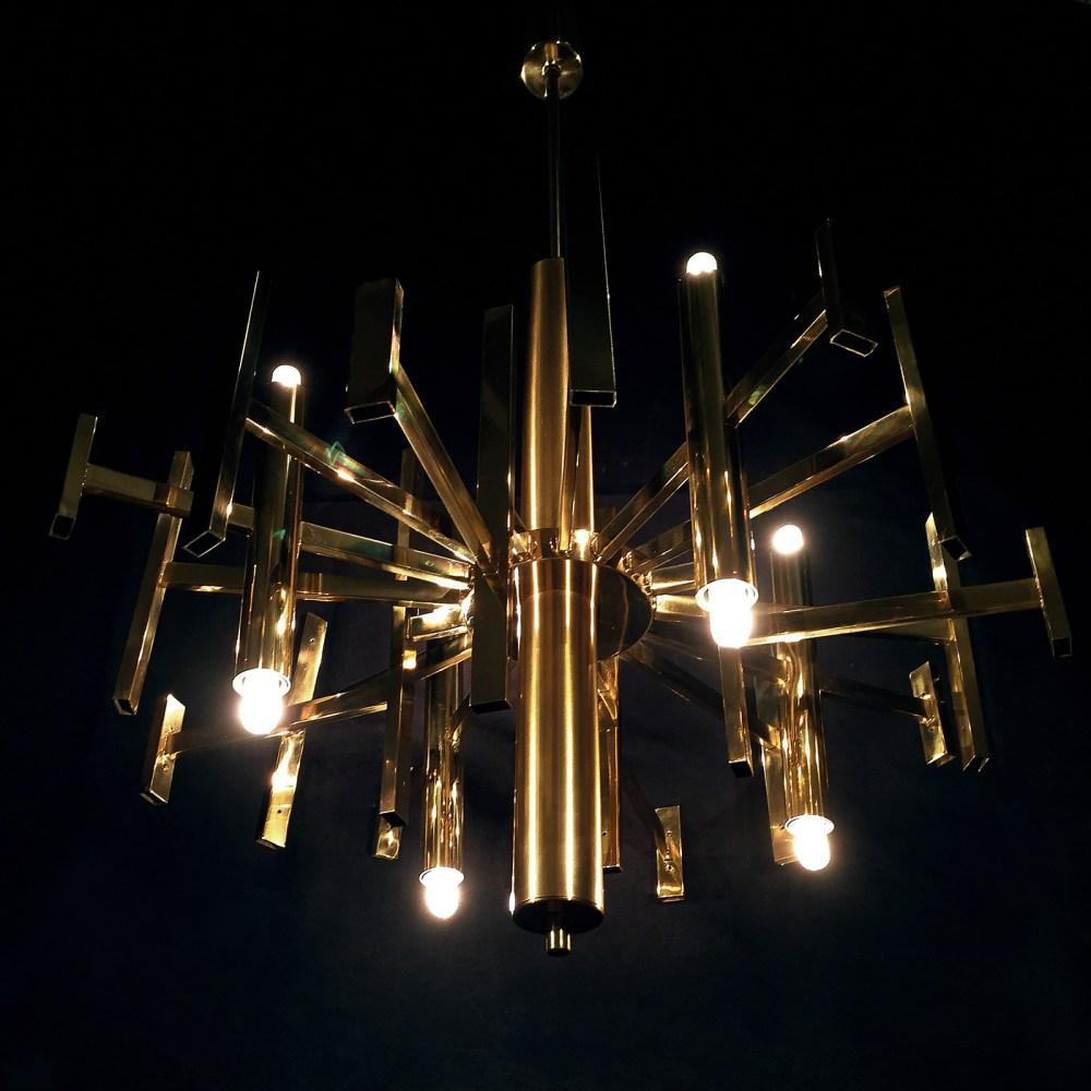 lustre laiton doré gaetano scolari 8 feux. 1970