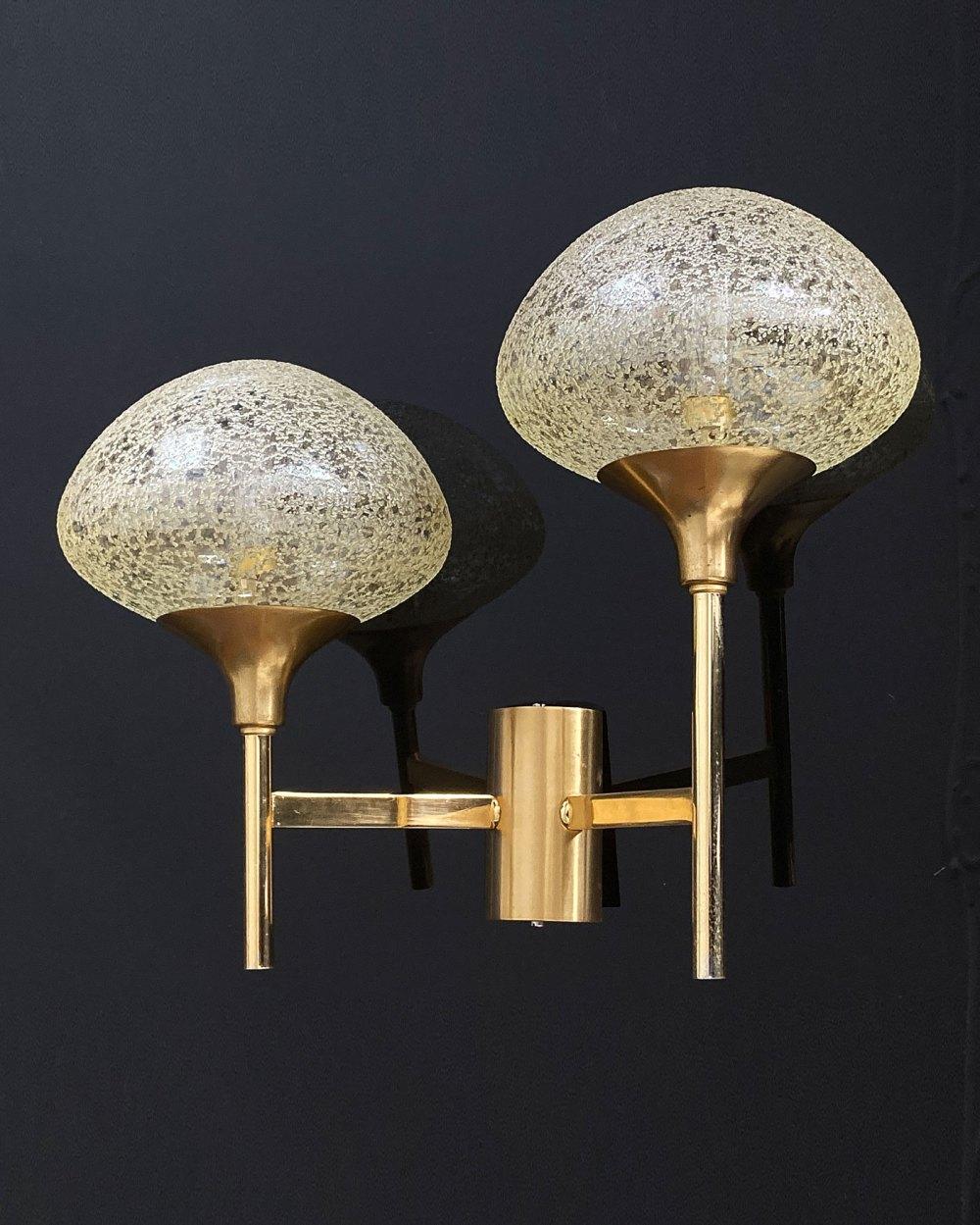 applique gaetano sciolari pour sciolari, laiton et verre structuré 1960