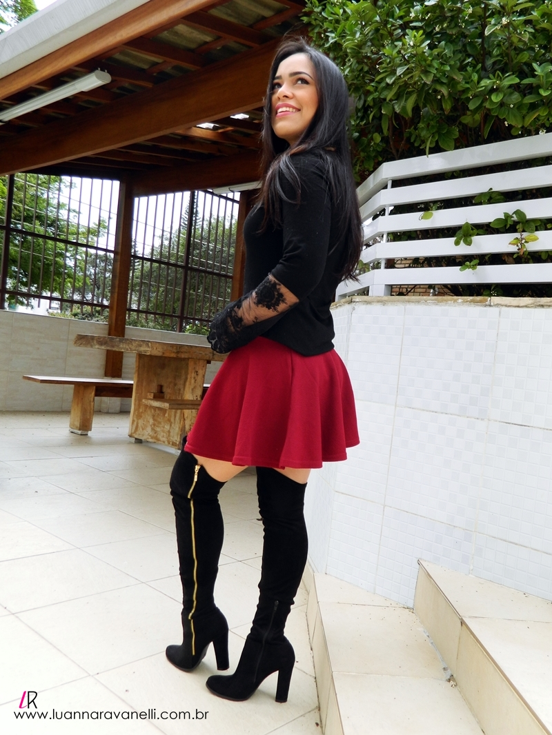 LOOK DA LU – Saia Bordô