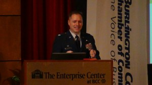 Col. John Wood, Commander, 87th Air Base Wing, speaks at Burlington County Chamber Economic Roundtable