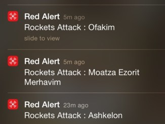 Screen shot of the Red Alert Israel app.