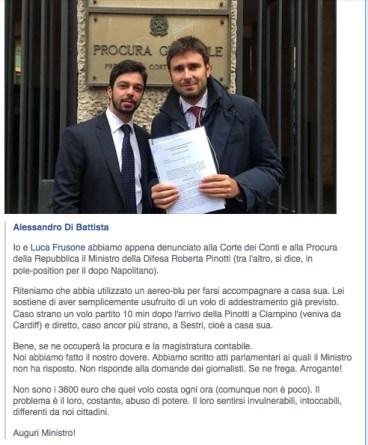 (ANSA - DUE FIGURE) L'esilarante testo in cui Di Battista si lamenta ché la Pinotti non risponde alla stampa