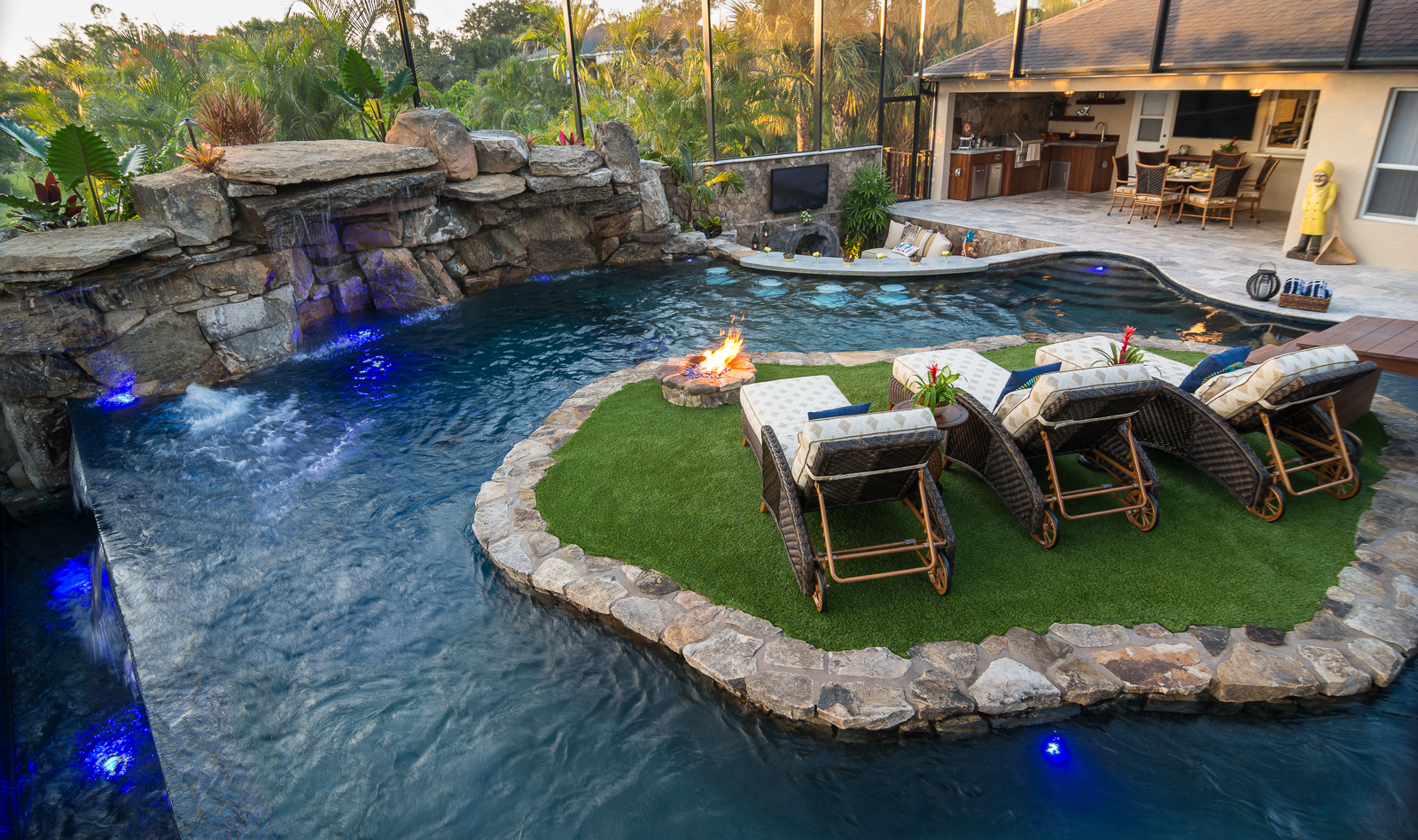 a lazy river runs through it custom pool on pine island. Black Bedroom Furniture Sets. Home Design Ideas