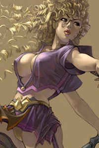 A woman with long flowing blond hair and large breasts dances a deadly dance.