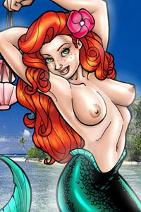 This red haired mermaid has shed her shells to reveal large, firm breasts.