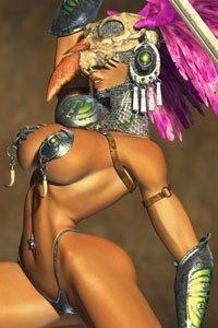 A barbarian woman in a skeletal bird headdress wields a large sword.