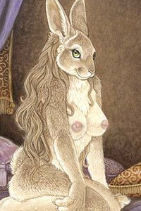 A light-furred female rabbit with perky breasts sits on her bed.