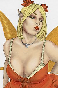 A lovely blond fairy with orange wings a