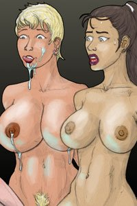 Two naked women with large breasts stare in wonder and horror at a strange blue glowing object.