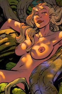 A beautiful nude blonde woman with large breasts rests among large vines and tree limbs in the forest.