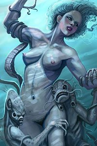 A lovely naked woman is being dragged down into the water by a group of small aquatic creatures.