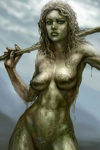 A naked woman covered in mud stands defiantly, with a staff held behind her.