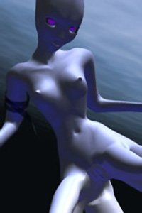 A naked blue-skinned squid-like woman floats in the ocean.